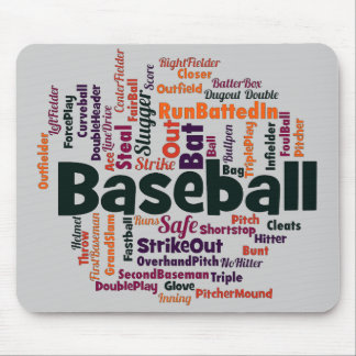 Baseball Word Cloud Mouse Pad