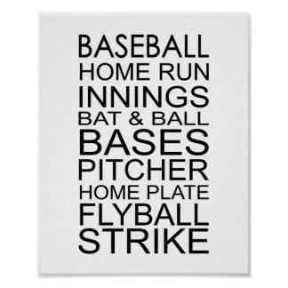 Baseball Words Typography Poster