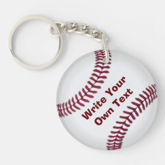 Baseball - Write Your Own Text Double-Sided Round Acrylic Keychain