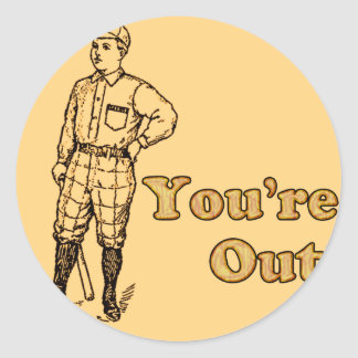 Baseball You're out Classic Round Sticker