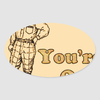 Baseball You're out Oval Sticker