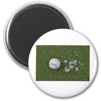 BaseballBrokenGlassOnGrass010212 2 Inch Round Magnet