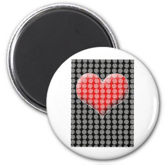 Baseballs and Heart 2 Inch Round Magnet
