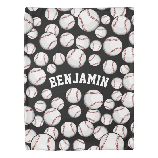 Baseballs By the Boatload Custom Name Black Duvet Cover