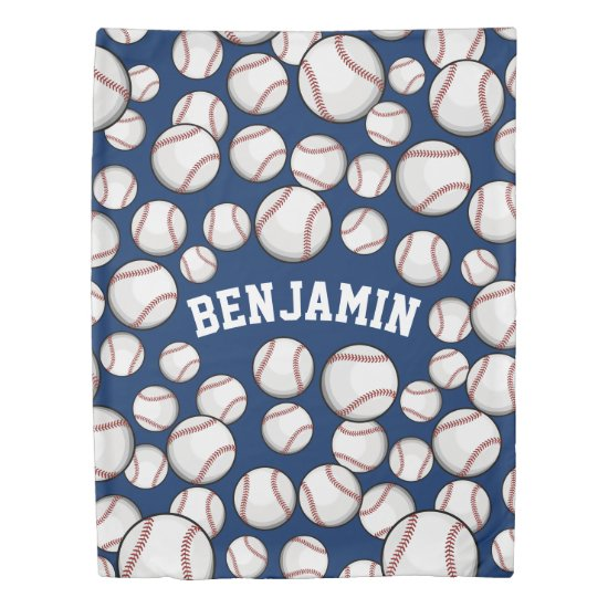 Baseballs By the Boatload Custom Name Navy Duvet Cover