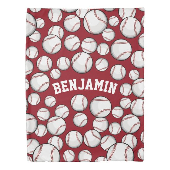 Baseballs By the Boatload Custom Name Red Duvet Cover