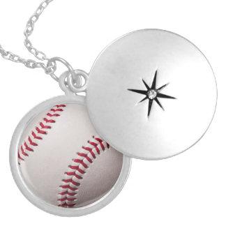 Baseballs - Customize Baseball Background Template Round Locket Necklace