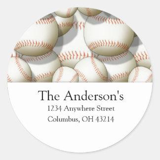 Baseballs Design 2 Address Labels/Stickers Classic Round Sticker