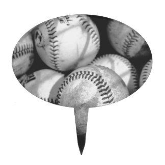 Baseballs in Black and White Cake Topper