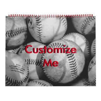 Baseballs in Black and White Calendar