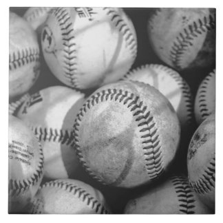 Baseballs in Black and White Ceramic Tile