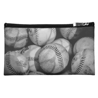 Baseballs in Black and White Cosmetic Bag