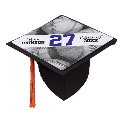 Baseballs in Black and White Custom Jersey Number Graduation Cap Topper