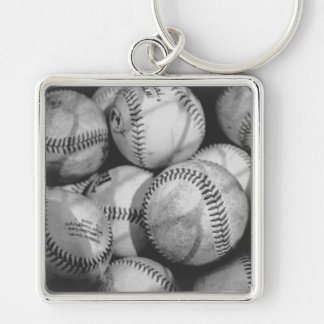 Baseballs in Black and White Keychain