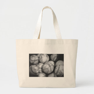 Baseballs in Black and White Large Tote Bag