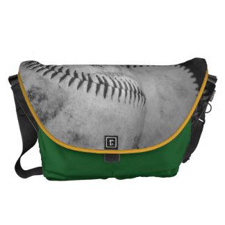 Baseballs in Black and White Messenger Bag
