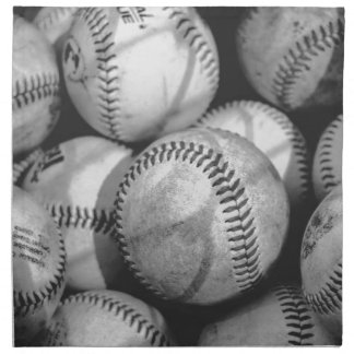 Baseballs in Black and White Napkin