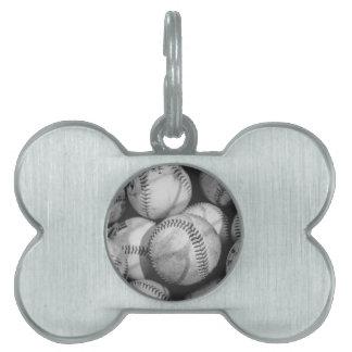 Baseballs in Black and White Pet Name Tag