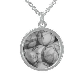 Baseballs in Black and White Sterling Silver Necklace