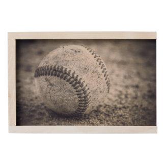 Baseballs in Black and White Wooden Keepsake Box