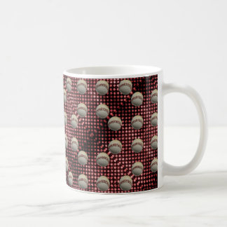 Baseballs on Red Checkerboard Background Coffee Mug
