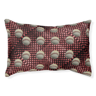Baseballs on Red Checkerboard Background Small Dog Bed