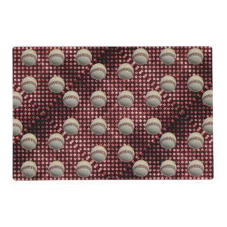 Baseballs on Red Checkerboard Background Placemat