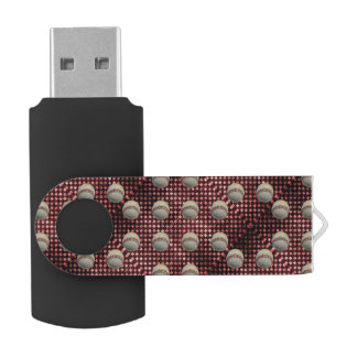 Baseballs on Red Checkerboard Background Swivel USB 2.0 Flash Drive