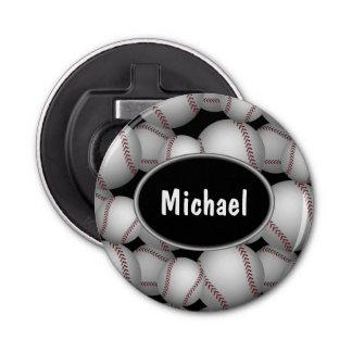 Baseballs Pattern Button Bottle Opener