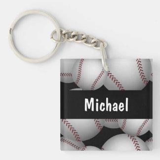 Baseballs Pattern Double-Sided Square Acrylic Keychain