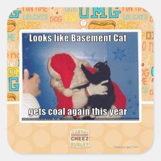 Basement Cat gets coal Square Sticker