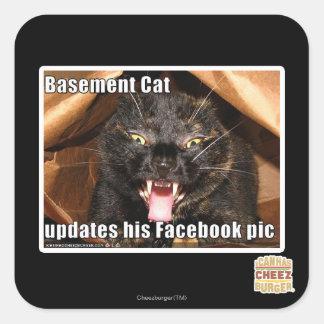 Basement Cat Square Sticker