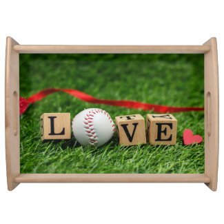 Basenall with LOVE word red heart on green grass Serving Tray