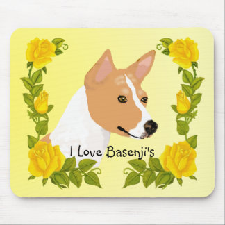 Basenji and Yellow Roses Mouse Pad