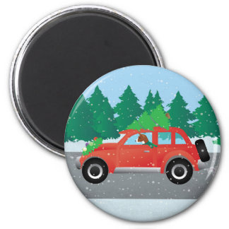 Basenji Dog Driving a  Red Car with Christmas Tree Magnet