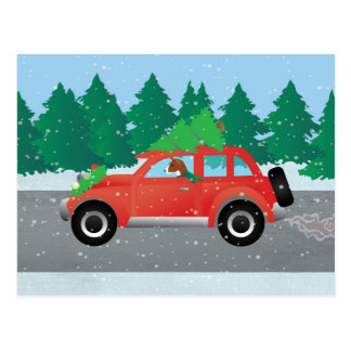 Basenji Dog Driving a  Red Car with Christmas Tree Postcard
