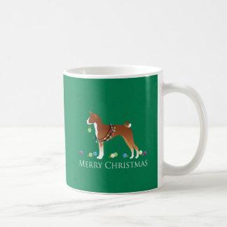 Basenji Dog Merry Christmas Design Coffee Mug
