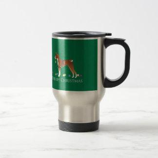 Basenji Dog Merry Christmas Design Travel Mug