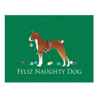 Basenji Feliz Naughty Dog Christmas Postcard
