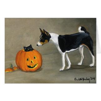 """""""Basenji Halloween"""" Dog Art Notecard"""
