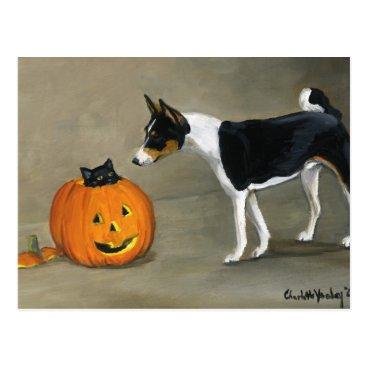 "Halloween Themed ""Basenji Halloween"" Dog Art Postcard"
