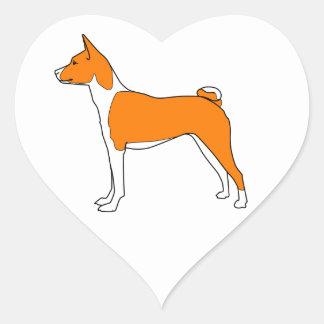 basenji heart heart sticker