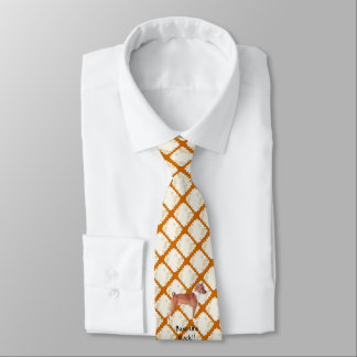 Basenji on Tan Leaves Tie