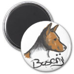 Basenji Painting Red and White Magnets