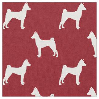 Basenji Silhouettes Pattern Red Fabric