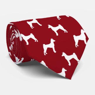 Basenji siluetea rojo del modelo corbatas personalizadas