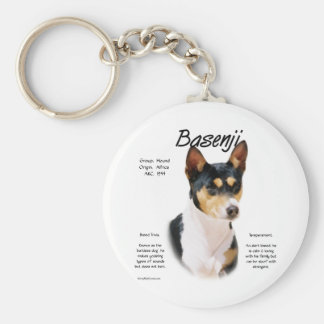 Basenji (tricolor) History Design Key Chains