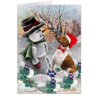 Basenji Watches Snowman Cards