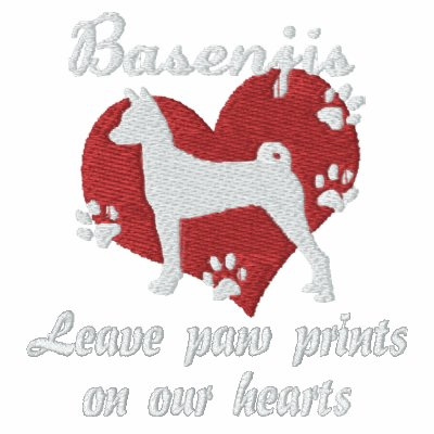 Basenjis Leave Paw Prints Embroidered Shirt LS