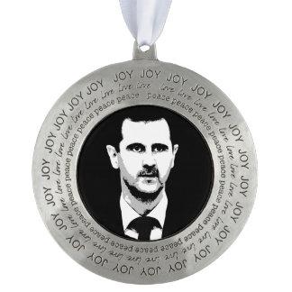 Bashar al-Assad Round Pewter Christmas Ornament